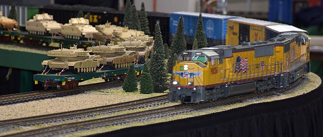 UP freight passing Joe Lupinski's military flats - Springfield 2017